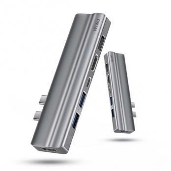 Переходник - Хаб WiWU T9 x2 Type C to x2 HDMI, x2 USB 3.0, USB 2.0, Type C, Cardreader 8 in 1 Adapter (Grey)